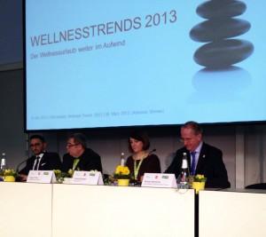 Bei der Pressekonferenz auf der ITB werden die Wellness-Trends 2013 präsentiert