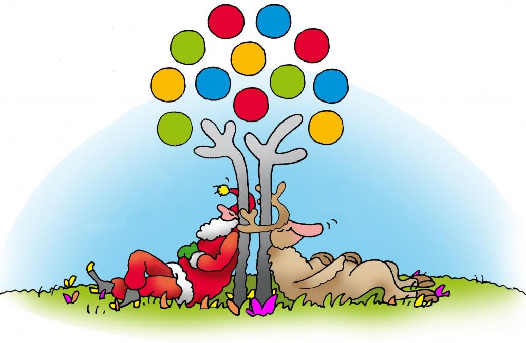 Auch Weihnachtsmann und Rentier brauchen eine Wellness-Auszeit