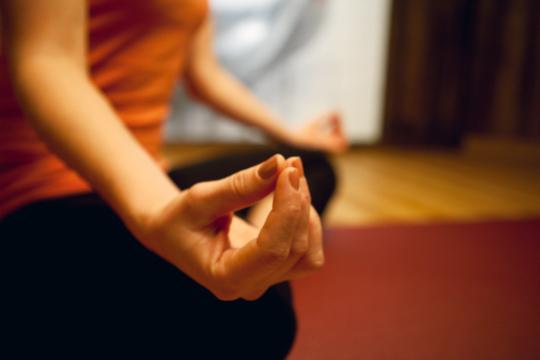 Entschleunigung im Wellnesshotel Seeschlößchen - Ayurveda & Naturresort: Frau macht Yoga